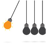 Έννοια λίκνων Newton στο υπόβαθρο, δημιουργική ιδέα γ λαμπών φωτός Στοκ Εικόνες