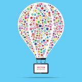 Έννοια ίδρυσης επιχείρησης μπαλονιών ζεστού αέρα απεικόνιση αποθεμάτων