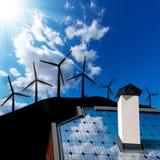Έννοια αέρα και ηλιακής ενέργειας Στοκ εικόνες με δικαίωμα ελεύθερης χρήσης