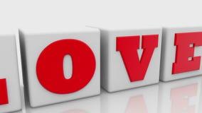 Έννοια αγάπης στους άσπρους κύβους με την καρδιά στο τέλος διανυσματική απεικόνιση