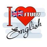 Έννοια αγγλικής γλώσσας Σημαία, καρδιά και χειρόγραφη λέξη Στοκ φωτογραφία με δικαίωμα ελεύθερης χρήσης