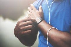 Έννοια αθλητών Sportwoman Podcast Playlist Sportman Στοκ Φωτογραφίες