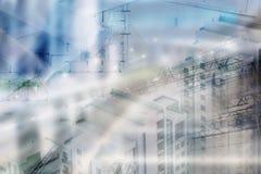 Έννοια ακίνητων περιουσιών, διπλά σχεδιάγραμμα EXPO και κλειδιά στοκ εικόνες