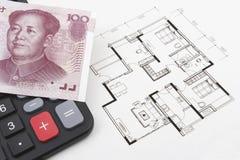Έννοια ακίνητων περιουσιών με τα κινεζικά χρήματα (RMB) Στοκ Φωτογραφίες