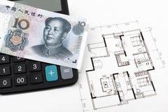 Έννοια ακίνητων περιουσιών με τα κινεζικά χρήματα (RMB) Στοκ φωτογραφίες με δικαίωμα ελεύθερης χρήσης