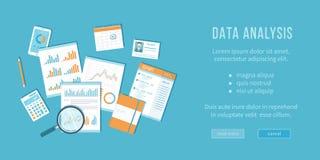 Έννοια ανάλυσης στοιχείων Οικονομικός λογιστικός έλεγχος, analytics, στατιστικές, στρατηγικές, έκθεση, διαχείριση Ενίσχυση - γυαλ Στοκ Εικόνες