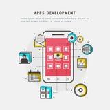 Έννοια ανάπτυξης Apps με το smartphone Στοκ φωτογραφία με δικαίωμα ελεύθερης χρήσης