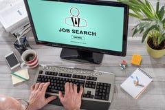 Έννοια αναζήτησης εργασίας σε έναν υπολογιστή Στοκ εικόνες με δικαίωμα ελεύθερης χρήσης