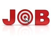 Έννοια αναζήτησης εργασίας στόχων, κόκκινη λέξη εργασίας με το ποντίκι δρομέων βελών που χτυπά στο κέντρο του πίνακα βελών πέρα α Στοκ Εικόνες