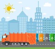 Έννοια ανακύκλωσης αποβλήτων πόλεων με το φορτηγό απορριμάτων διανυσματική απεικόνιση
