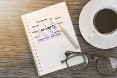 Έννοια ανησυχίας στο σημειωματάριο με τα γυαλιά, το φλυτζάνι μολυβιών και καφέ Στοκ φωτογραφία με δικαίωμα ελεύθερης χρήσης
