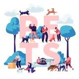 Έννοια ανθρώπων και κατοικίδιων ζώων Αρσενικοί και θηλυκοί χαρακτήρες που περπατούν με τα σκυλιά και τις γάτες υπαίθρια, χαλάρωση διανυσματική απεικόνιση