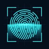 Έννοια ανιχνευτών δακτυλικών αποτυπωμάτων Ψηφιακός και cyber ασφάλεια, βιομετρική έγκριση Δακτυλικό αποτύπωμα στην οθόνη ανίχνευσ απεικόνιση αποθεμάτων