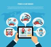 Έννοια ανιχνευτών πλυσίματος αυτοκινήτων απεικόνιση αποθεμάτων