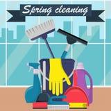Έννοια ανοιξιάτικου καθαρισμού Κάδος, σέσουλα και βούρτσα για το σκούπισμα, σκόνη πλύσης, μπουκάλι του ψεκασμού, σφουγγάρι, βούρτ διανυσματική απεικόνιση