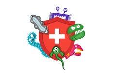 Έννοια ανοσοποιητικών συστημάτων Υγιεινή ιατρική κόκκινη ασπίδα που προστατεύει από τα μικρόβια και τα βακτηρίδια ιών Επίπεδη δια διανυσματική απεικόνιση