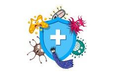 Έννοια ανοσοποιητικών συστημάτων Υγιεινή ιατρική μπλε ασπίδα που προστατεύει από τα μικρόβια και τα βακτηρίδια ιών r απεικόνιση αποθεμάτων