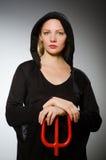 Έννοια αποκριών με τη γυναίκα Στοκ φωτογραφία με δικαίωμα ελεύθερης χρήσης