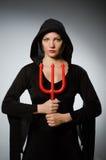 Έννοια αποκριών με τη γυναίκα Στοκ εικόνα με δικαίωμα ελεύθερης χρήσης