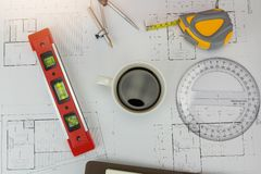 Έννοια αρχιτεκτόνων, εργασία γραφείων αρχιτεκτόνων Στοκ Εικόνα