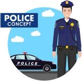 Έννοια αστυνομικών Λεπτομερής απεικόνιση του αστυνομικού σε ομοιόμορφο Στοκ Εικόνες