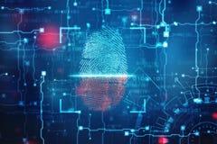 Έννοια ασφάλειας: ανίχνευση δακτυλικών αποτυπωμάτων στην ψηφιακή οθόνη 2$α απεικόνιση στοκ φωτογραφία