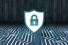 Έννοια ασφάλειας, κλειστό λουκέτο στο ψηφιακό υπόβαθρο, cyber ασφάλεια απεικόνιση αποθεμάτων