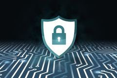 Έννοια ασφάλειας, κλειστό λουκέτο στο ψηφιακό υπόβαθρο, cyber ασφάλεια ελεύθερη απεικόνιση δικαιώματος
