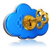 Έννοια ασφάλειας υπολογισμού και αποθήκευσης σύννεφων Στοκ εικόνα με δικαίωμα ελεύθερης χρήσης