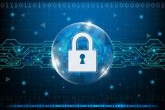 Έννοια ασφάλειας Cyber με τα αφηρημένα υπόβαθρα τεχνολογίας απεικόνιση αποθεμάτων