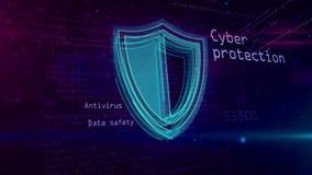 Έννοια ασφάλειας Cyber με την ασπίδα 4K διανυσματική απεικόνιση