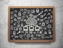 Έννοια ασφάλειας: Δίκτυο σύννεφων στο σχολικό πίνακα Στοκ Εικόνα
