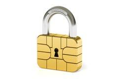 Έννοια ασφάλειας τσιπ πιστωτικών καρτών, τρισδιάστατη απόδοση Στοκ Φωτογραφία