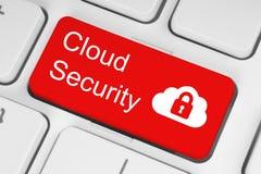 Έννοια ασφάλειας υπολογισμού σύννεφων στο κόκκινο κουμπί πληκτρολογίων Στοκ Φωτογραφίες