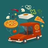 Έννοια αυτοκινήτων παράδοσης πιτσών με τα τρόφιμα, διανυσματική απεικόνιση κινούμενων σχεδίων, παράδοση γρήγορου φαγητού Στοκ Φωτογραφία