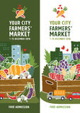 Έννοια αφισών αγοράς αγροτών Στοκ Εικόνες