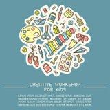 Έννοια αφισών με τα πράγματα για τη δημιουργικές δραστηριότητα παιδιών και τις πληροφορίες εργαστηρίων διανυσματική απεικόνιση