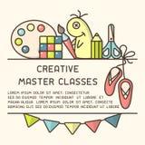 Έννοια αφισών με τα πράγματα για τη δημιουργική δραστηριότητα παιδιών και τις κύριες πληροφορίες κατηγορίας απεικόνιση αποθεμάτων