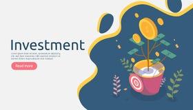 Έννοια αύξησης διοίκησης επιχειρήσεων Isometric διανυσματική απεικόνιση αποδόσεων της επένδυσης με τις εγκαταστάσεις νομισμάτων χ απεικόνιση αποθεμάτων