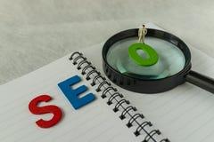 Έννοια βελτιστοποίησης μηχανών αναζήτησης ως σύντμηση SEO αλφάβητου, Στοκ Εικόνες