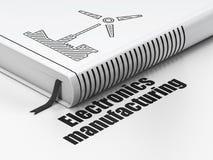 Έννοια βιομηχανίας: ανεμόμυλος βιβλίων, κατασκευή ηλεκτρονικής στο άσπρο υπόβαθρο ελεύθερη απεικόνιση δικαιώματος