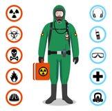 Έννοια βιομηχανίας Λεπτομερής απεικόνιση του εργαζομένου στο πράσινο προστατευτικό κοστούμι Διανυσματικά εικονίδια Ασφαλείας και  Στοκ εικόνες με δικαίωμα ελεύθερης χρήσης