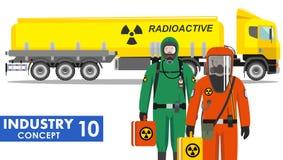Έννοια βιομηχανίας Λεπτομερής απεικόνιση του φορτηγού δεξαμενών που φέρνει τις χημικές, ραδιενεργές, τοξικές, επικίνδυνες ουσίες  Στοκ εικόνα με δικαίωμα ελεύθερης χρήσης