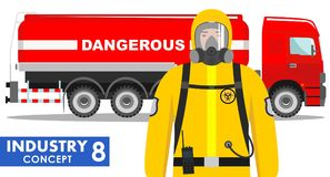 Έννοια βιομηχανίας Λεπτομερής απεικόνιση του φορτηγού δεξαμενών που φέρνει τις χημικές, ραδιενεργές, τοξικές, επικίνδυνες ουσίες  Στοκ Εικόνα