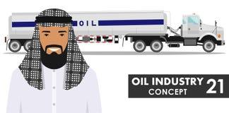 Έννοια βιομηχανίας πετρελαίου Λεπτομερής απεικόνιση του φορτηγού βενζίνης και του σαουδικού αραβικού ατόμου Στοκ εικόνες με δικαίωμα ελεύθερης χρήσης