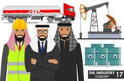 Έννοια βιομηχανίας πετρελαίου Λεπτομερής απεικόνιση του φορτηγού βενζίνης, της αντλίας πετρελαίου, των βαρελιών και του αραβικού  Στοκ φωτογραφίες με δικαίωμα ελεύθερης χρήσης