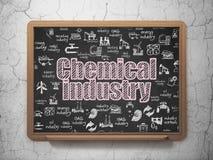 Έννοια βιομηχανίας: Χημική βιομηχανία στο υπόβαθρο σχολικών πινάκων Στοκ Φωτογραφία