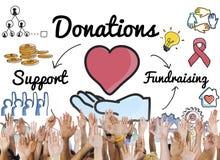 Έννοια βοήθειας ερανικού υποστήριξης μεριδίου δωρεάς στοκ εικόνες