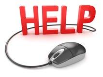 Έννοια βοήθειας με το ποντίκι υπολογιστών διανυσματική απεικόνιση