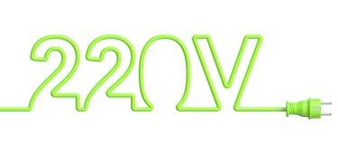 220 έννοια βολτ από το πράσινα καλώδιο και το βούλωμα τρισδιάστατη απόδοση απεικόνιση αποθεμάτων